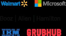 Logos of some of our partners: Wal-mart, Booz Allen Hamilton, Microsoft, IBM, and Grubhub.